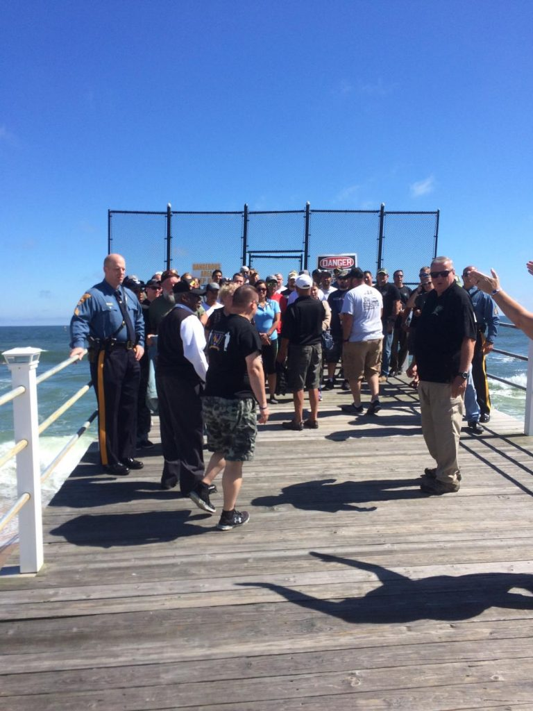 Veterans on the Belmar Fishing Pier returning from deep sea fishing.